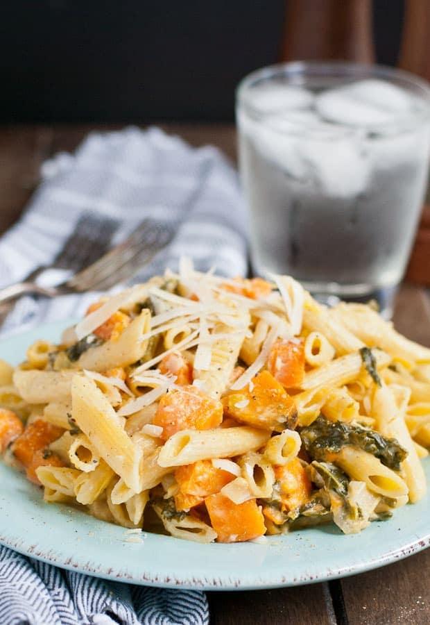 Creamy One-Pan Sweet Potato, Kale, & Leek Pasta