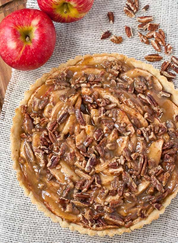 Salted Caramel Maple Apple Pecan Tart