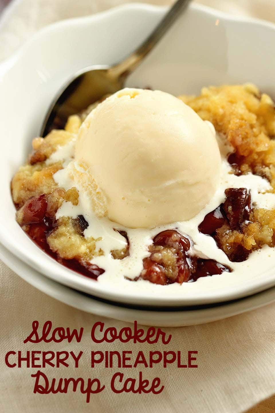 Slow Cooker Cherry Pineapple Dump Cake - No need to turn on the oven!  Let your slow cooker do all the work for this easy dessert recipe that let's you set it and forget it until it's time to eat!