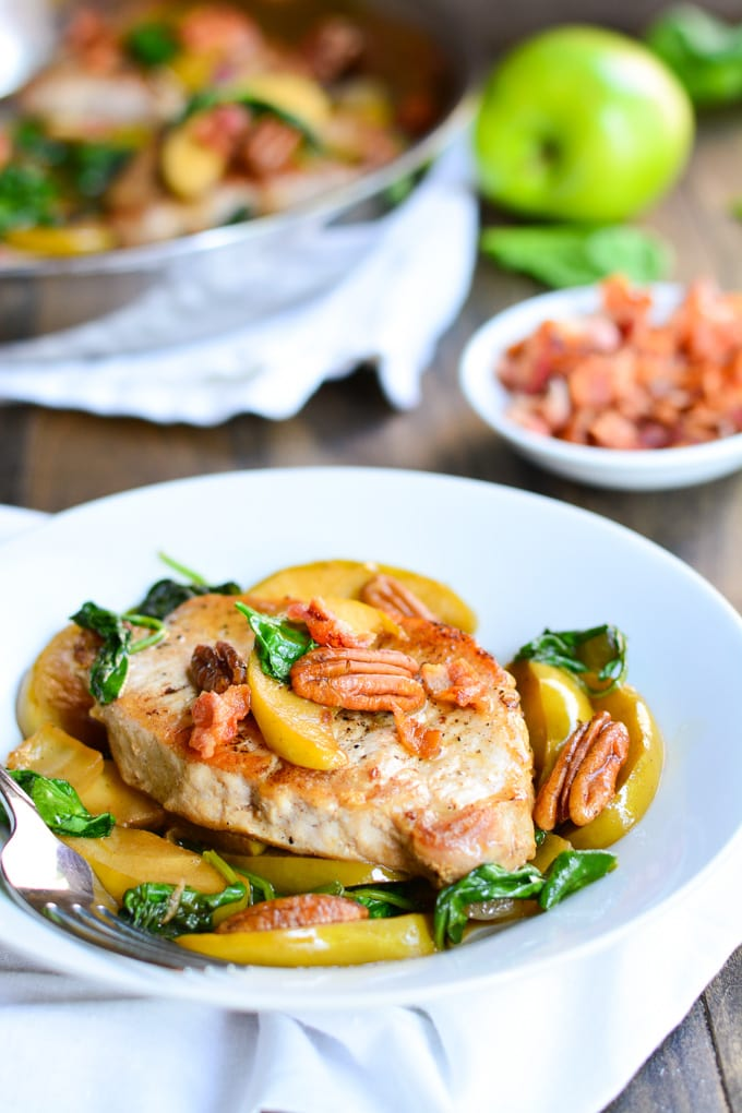 Apples & Spinach Pork Chops