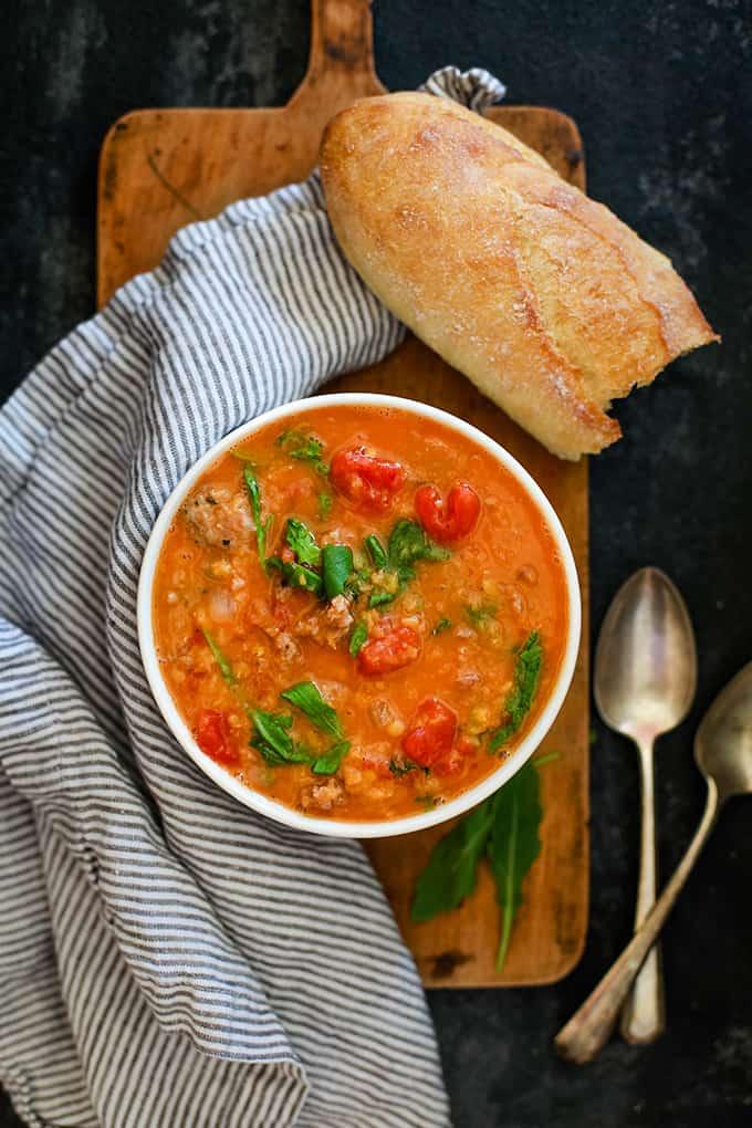 Sausage, Lentil, & Arugula Soup