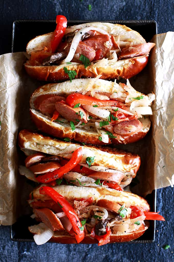 Slow Cooker Sausage and Sauerkraut Sandwiches