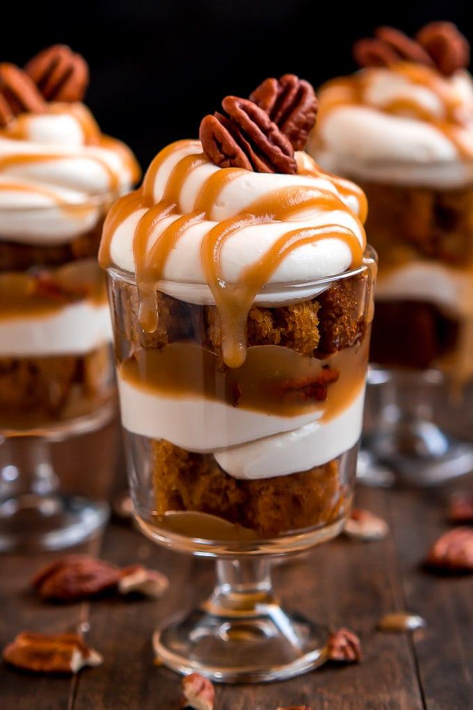 Caramel Pecan Pumpkin Cheesecake Trifles