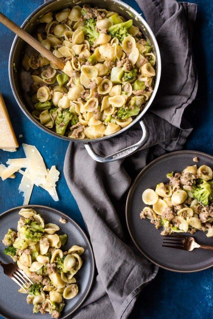 One-Pot Orecchiette with Sausage and Broccoli