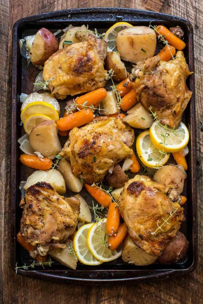 Crock Pot Lemon Garlic Chicken and Veggies