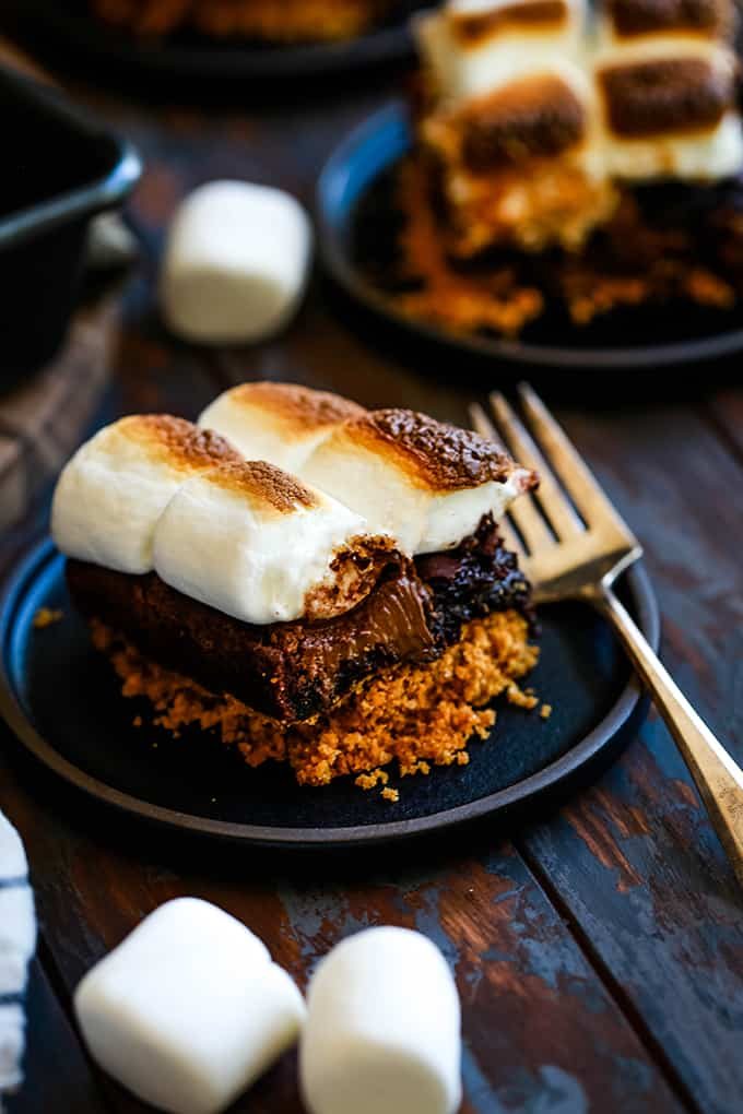 Peanut Butter Stuffed S'mores Brownies