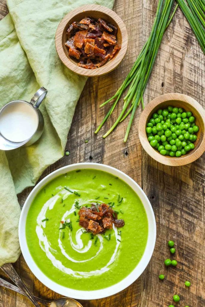 Green Pea Soup with Candied Bacon