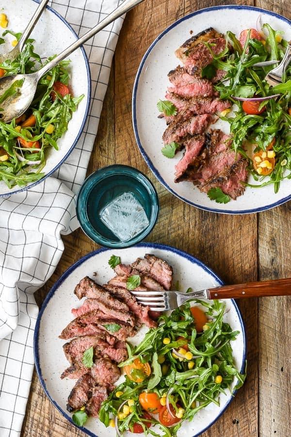 Marinated Skirt Steak with Simple Summer Salad