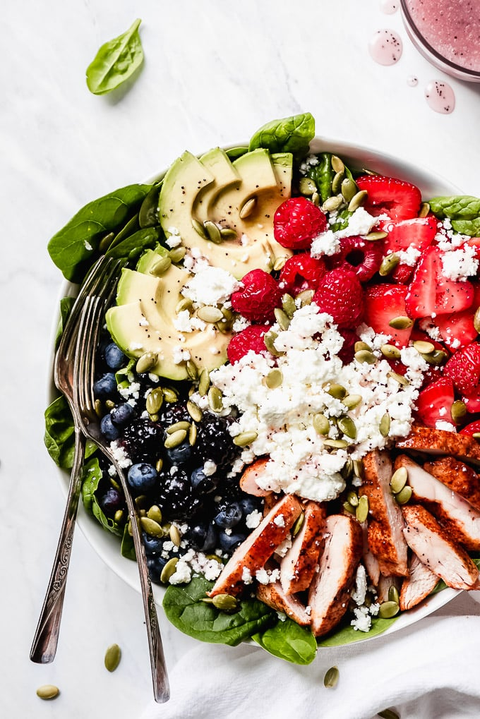 Berry Chicken Spinach Salad