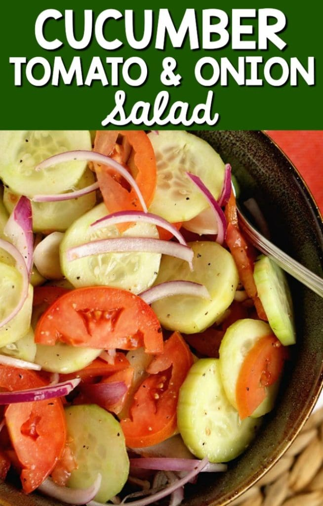 Cucumber, Tomato, and Onion Salad- A wonderful make-ahead salad recipe to use up those fresh garden vegetables! It makes a great side dish to so many meals!