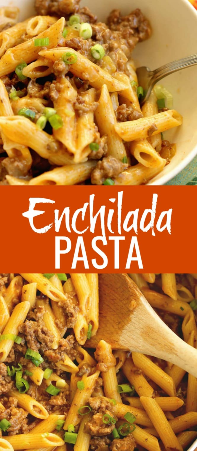 Easy Enchilada Pasta - All the flavors of beef enchiladas but in pasta form!  It's a perfect 30 minute pasta recipe for busy week nights!