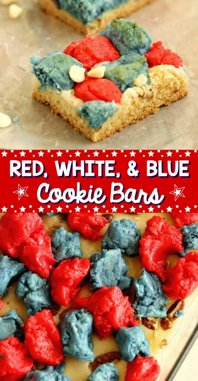Red, White, and Blue Cookie Bars - An easy cookie bar recipe made with the help of cake mix!  They are perfect for the fourth of July!