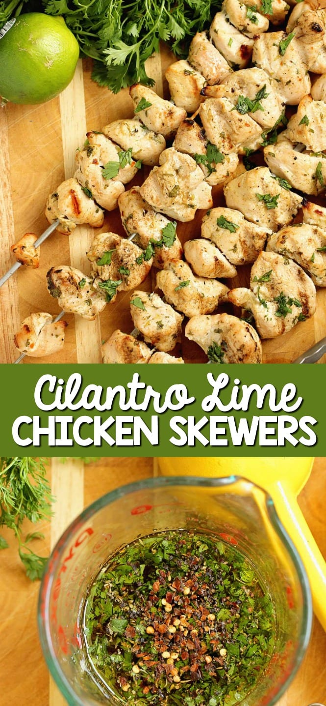 Cilantro Lime Chicken Skewers - Grilled chicken breasts marinated in a delicious cilantro and lime sauce make a great grilling recipe to try soon!