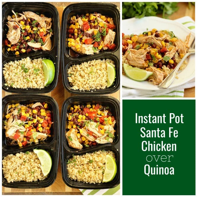 Instant Pot Santa Fe Chicken over Quinoa - An easy healthy instant pot chicken recipe perfect for dinner or make-ahead lunches for your week!