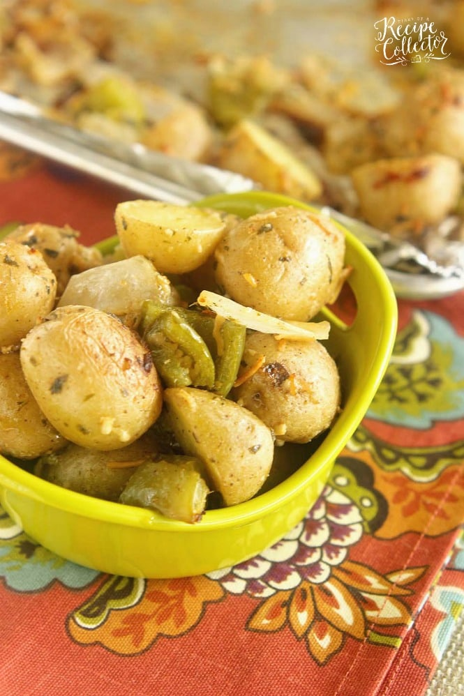 Roasted Creole Potatoes - An easy roasted potato side dish filled with onions, green bell peppers, parmesan cheese, and Creole spices.