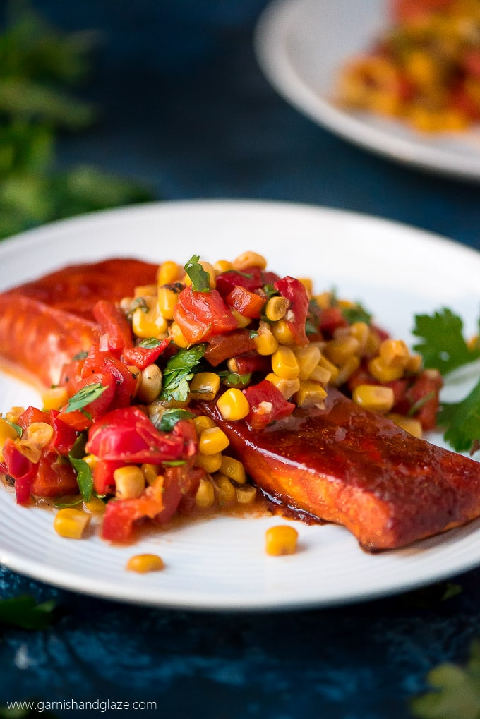 Baked Salmon with Corn and Red Pepper Relish