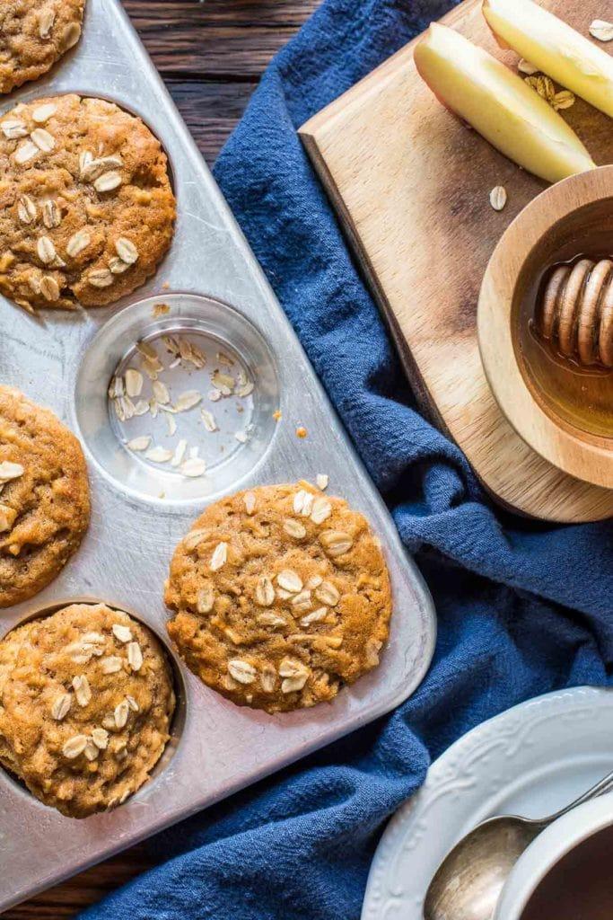 Honey Apple Oatmeal Muffins