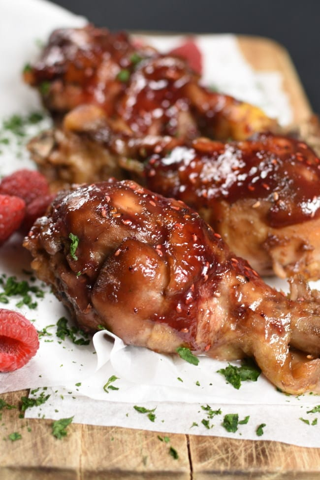 Slow Cooker Raspberry Chicken Drumsticks