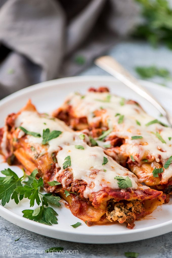 Easy Beef, Spinach, and Cheese Manicotti
