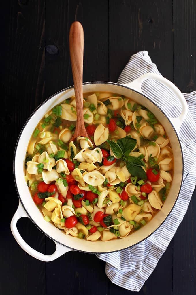 Cherry Tomato and Tortellini Soup