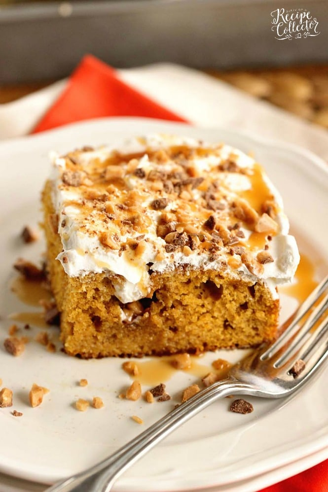 Pumpkin Toffee Poke Cake - An easy pumpkin dessert recipe filled with toffee and caramel and perfect for the fall season!