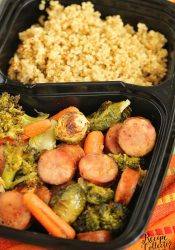 Easy Sheet Pan Sausage and Veggies over Quinoa - A super easy healthy recipe great for make ahead lunches and dinners filled with chicken sausage, veggies, and spices.
