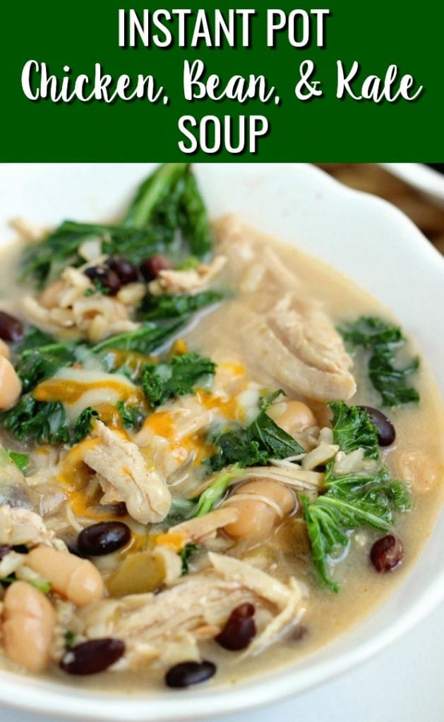 Instant Pot Chicken, Bean, and Kale Soup - A flavorful soup filled with fiber perfect for a healthy lunch or dinner idea!  Stove top directions are included as well!