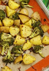 Spicy Parmesan Potatoes and Broccoli - An EASY and healthy side dish recipe filled with flavor.