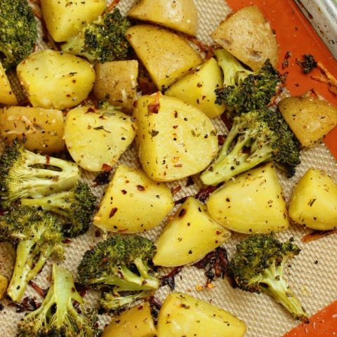 Spicy Parmesan Potatoes and Broccoli