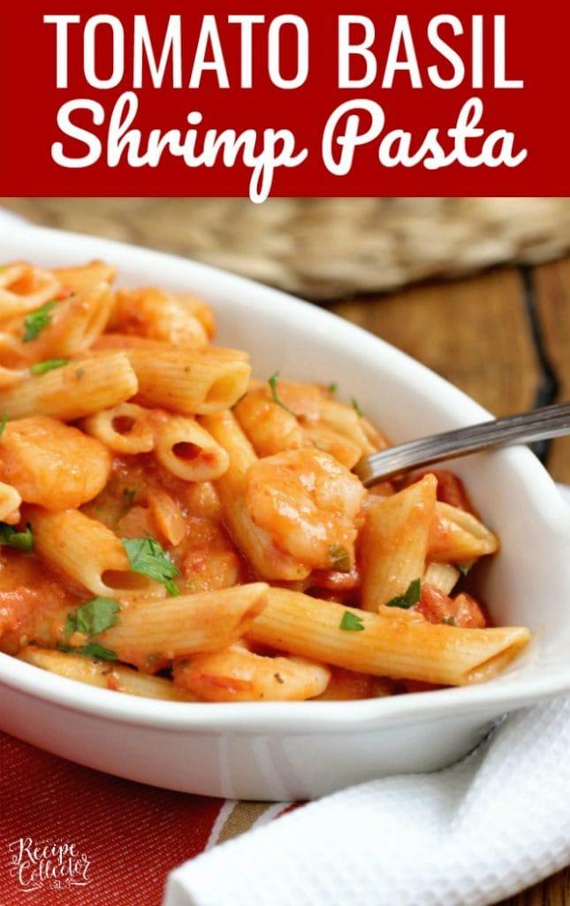 Tomato Basil Shrimp Pasta - A delicious pasta recipe filled with a creamy tomato basil sauce.