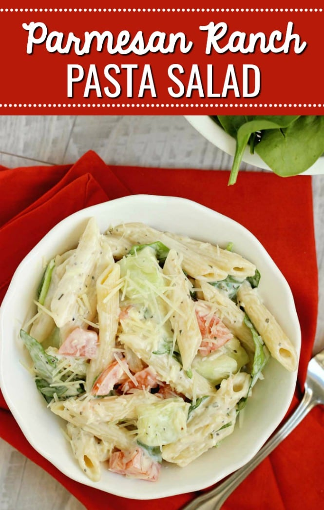 Easy Parmesan Ranch Pasta Salad - This is a super quick and flavorful side dish recipe!