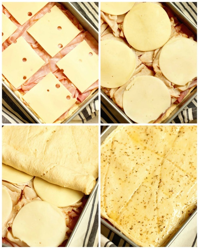 Ham, Turkey, and Cheese Crescent Squares - This makes a great appetizer for parties and is a great little snack or lunch idea. It all starts with a few simple ingredients.