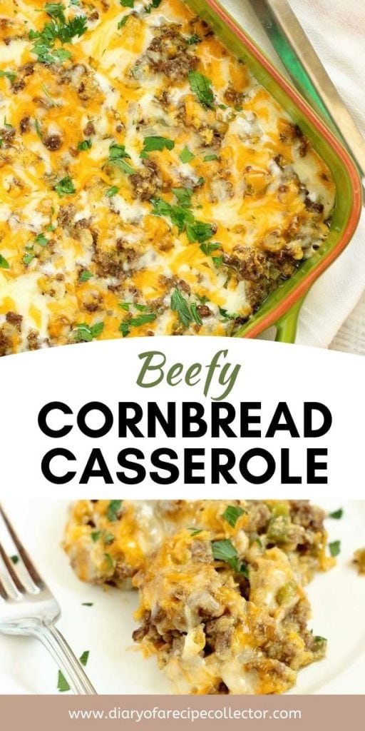 Beefy Cornbread Casserole - A super easy dinner recipe filled with ground beef, cream style corn, and cornbread. It makes a great weeknight dinner idea!