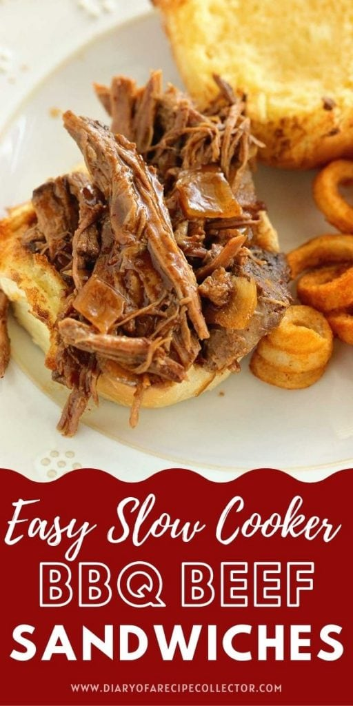 Simple Slow Cooker BBQ Beef Sandwiches - An incredibly easy slow cooker dinner recipe with a simple homemade barbecue sauce that simmers away all day.