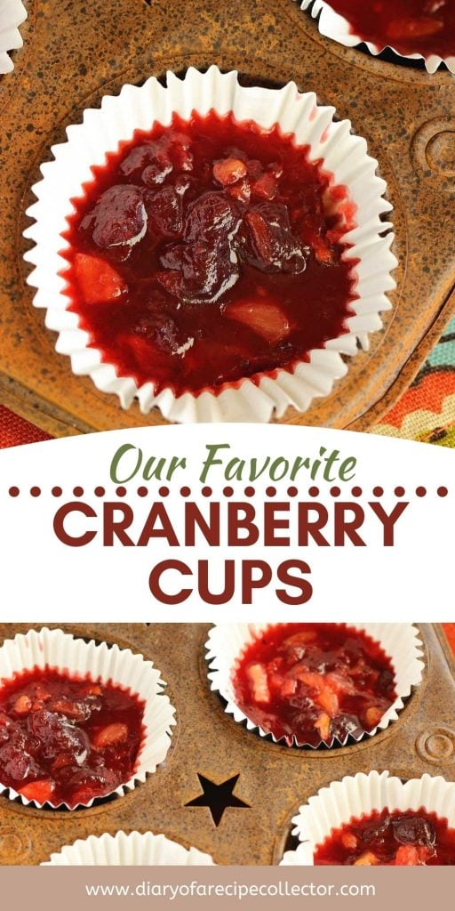 Cranberry Cups - The perfect way to make cranberry sauce pleasing for everyone!  This recipe uses strawberry jello and crushed pineapple to create a wonderful cranberry fruit salad in a muffin cup.  These are great for individual servings!