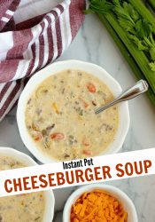 Instant Pot Cheeseburger Soup - A quick and easy hearty soup recipe filled with ground beef, noodles, veggies, and creamy cheese.