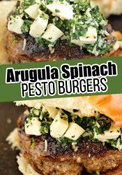 Arugula Spinach Pesto Burgers