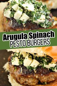 Arugula Spinach Pesto Burgers - Delicious burgers topped with a quick spinach, arugula, parmesan, and mozzarella mix. These are amazing!