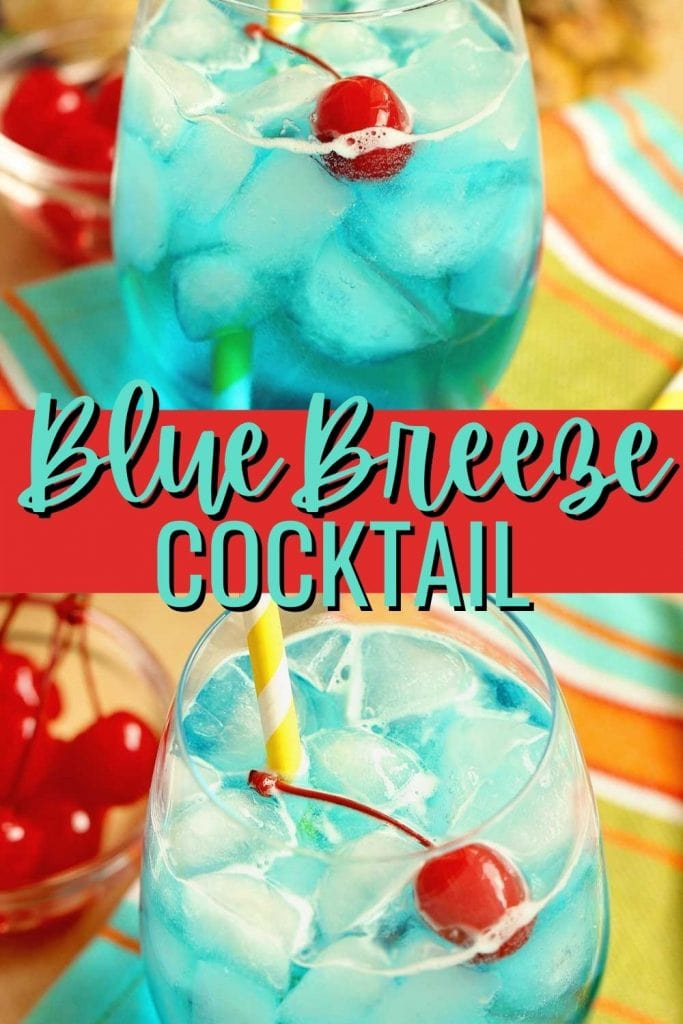 Blue Breeze Cocktail - Transport yourself straight to the beach with this tropical cocktail made with coconut rum, blue curacao, pineapple nectar, and Sprite.