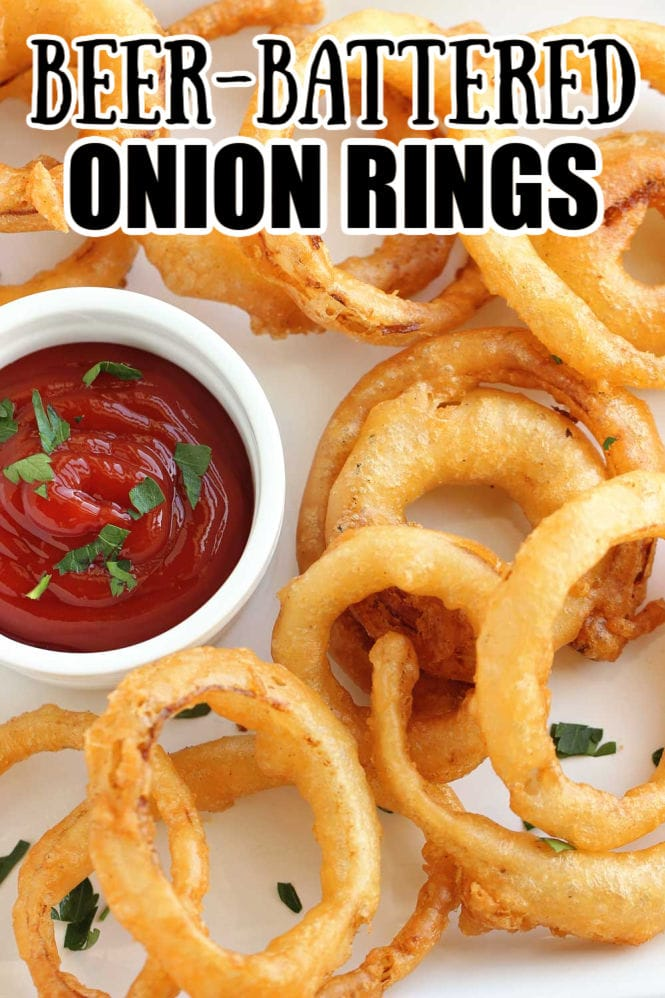 Beer Battered Onion Rings - Homemade beer battered onion rings are super easy!! Plus, they only take a few ingredients to whip up at home!