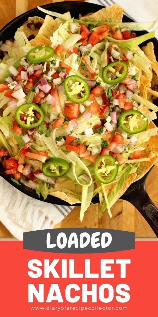 Loaded Skillet Nachos - Layers of tortilla chips, black beans, white cheese sauce, shredded Pepperjack, lettuce, and pico make this the ultimate snack or dinner idea!